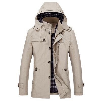 春季男装大码水洗夹克棉带帽薄款可脱卸帽中长款外套