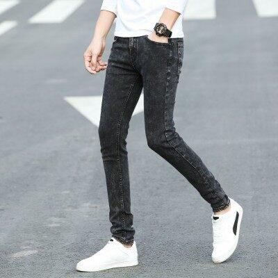 秋季新款年轻时尚修身男牛仔小脚裤